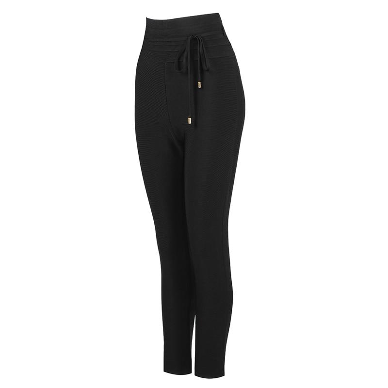 High Quality Black Grey Pink Rayon Bandage Pant Sexy Fashion Celebrity Pant