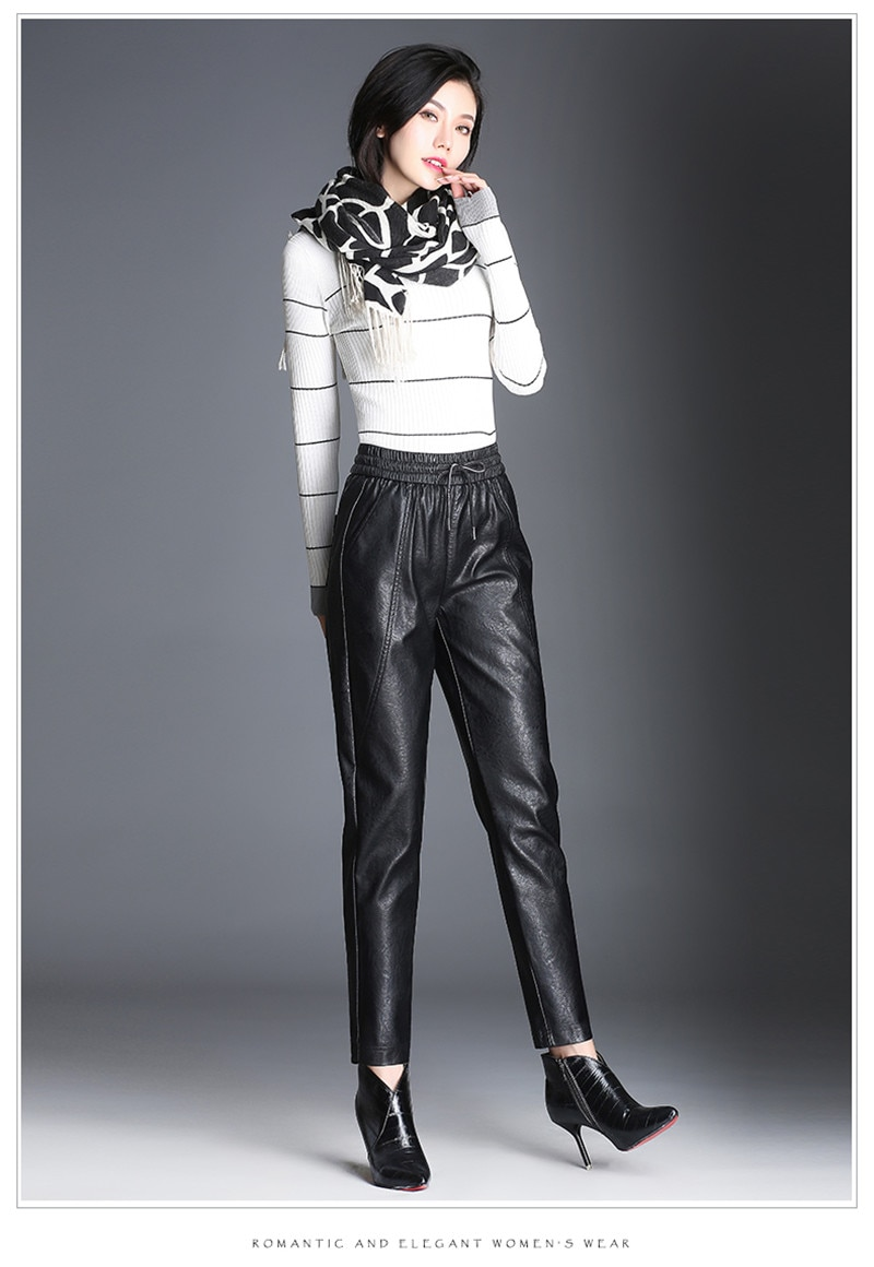 Women PU Leather Pants Fashion Drawstring Tie Ankle Trousers Elastic Waist Pants Pockets Black Streetwear Pantalones Mujer P162