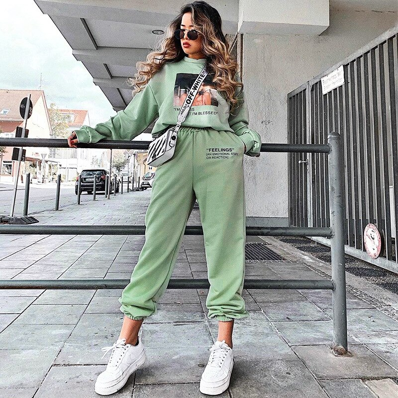 HOT Letter Print Baggy Joggers Sweatpants Women High Waist Loose Street Hip Hop Casual Sports Pants Harem Trouser Sportswear