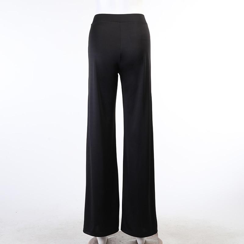 WannaThis Split Trousers Women High Waist Pants Loose Elastic Waist Hight Side Slit Hem Sexy Fashion Solid Black Elegant Pants