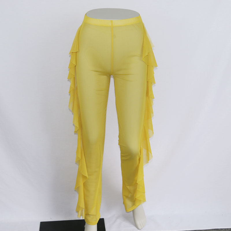 New Sexy Ruffle Women Beach Mesh Pants Sheer Wide Leg Pants Transparent See through Sea Holiday Cover Up Bikini Trouser Pantalon