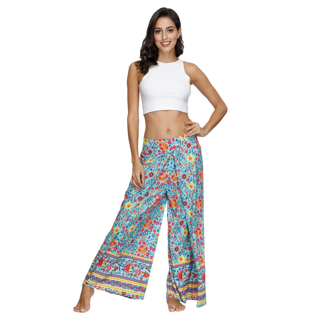 Bohemian Pants Women Thai Indonesian Style Digital Printed Summer Loose Trousers 13 Colors Baggy Jumpsuit Wide Leg Pants