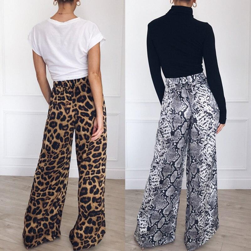 New 2019 women snake skin pattern wide leg pants elastic high waist ladies casual streetwear fashion trousers mujer
