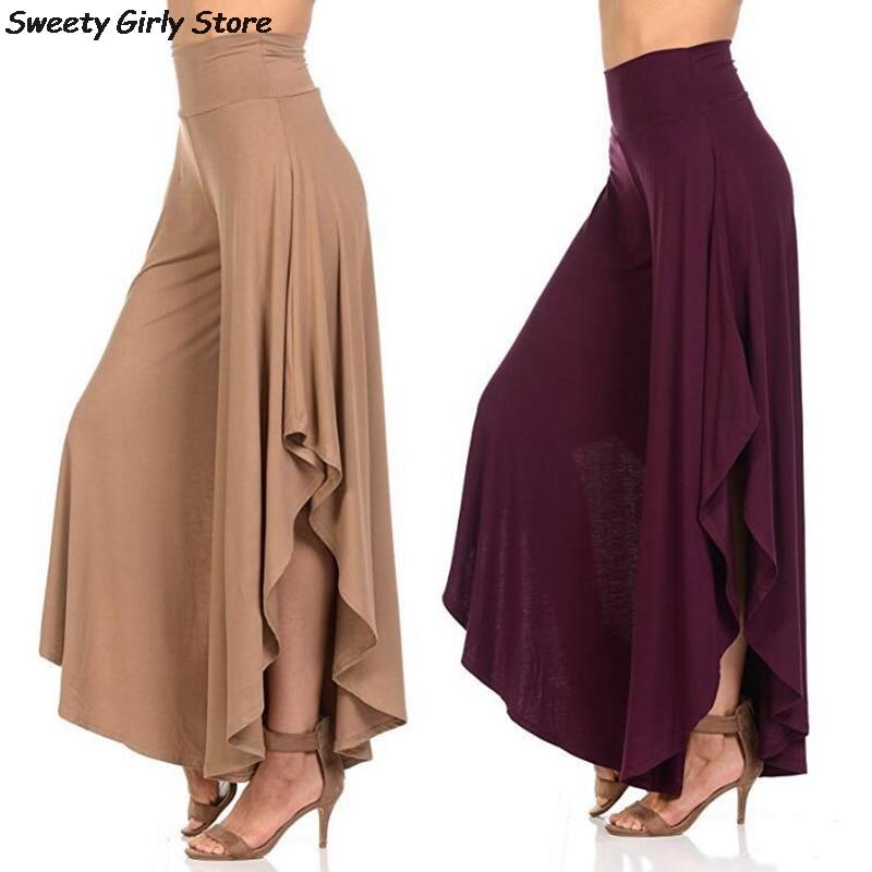 Elegant Ruffles Wide Leg Pants Women High Waist Dance Trousers Vintage Casual Irregular Pants Plus Size Office Loose Pantalones