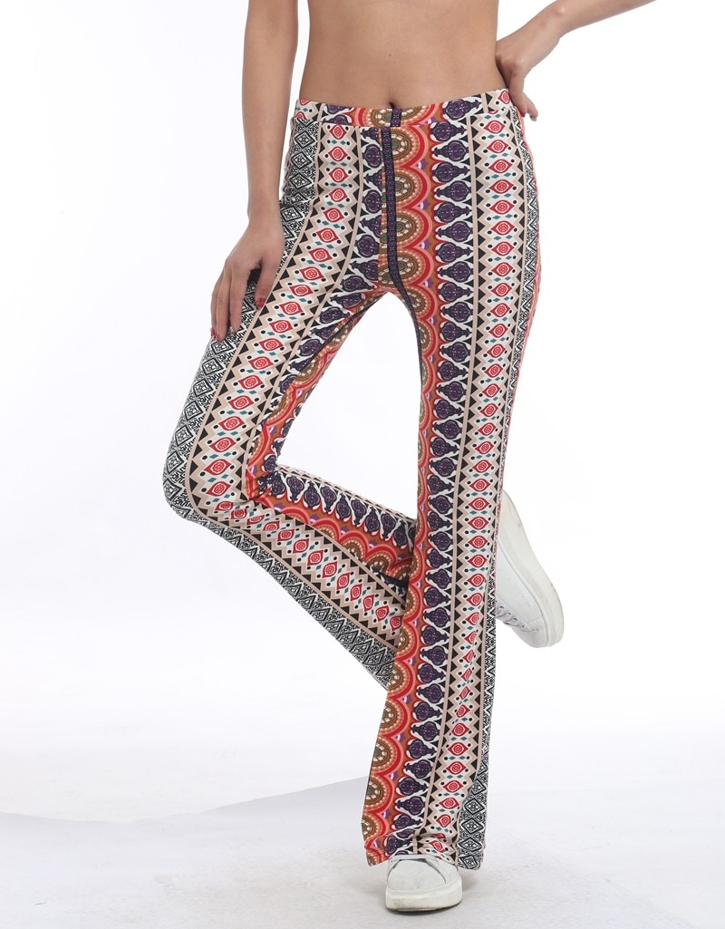 High Waist Print Flare Leggings Summer Vintage Flare Pants 2020 Women Fashion Sexy Bodycon Trousers Autumn Winter Casual Femme