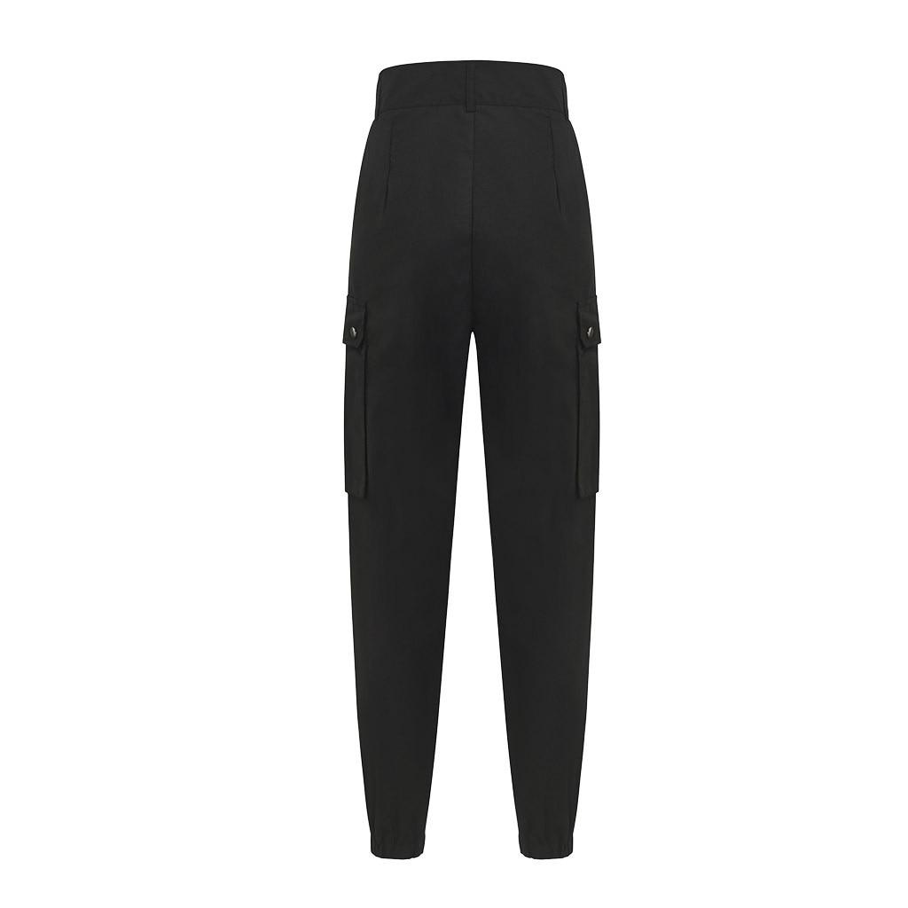 New Womens Solid Cargo Pants Pockets StreetWear Slim-fit Stright  Elastic Haren Trousers женские штаны High Waist  Summer Pants