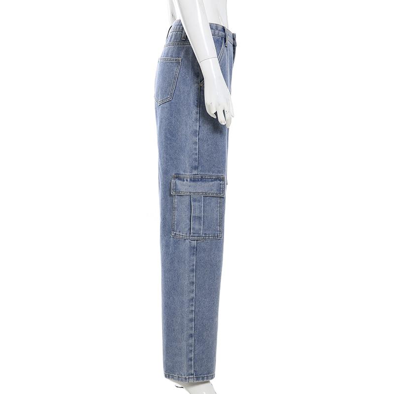 Darlingaga Fashion Straight Denim High Waist Pants Pockets Loose Women's Trousers Cargo Pants Women Casual Jeans Bottom Pantalon