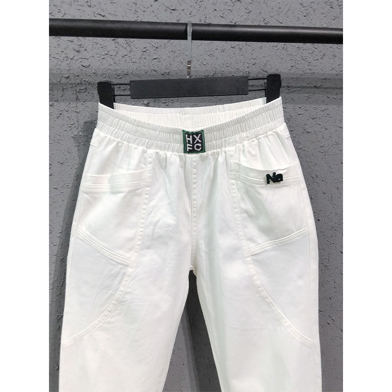New Arrival Spring Summer Korea Fashion Women Elastic Waist Loose White Jeans All-matched Casual Cotton Denim Harem Pants S982