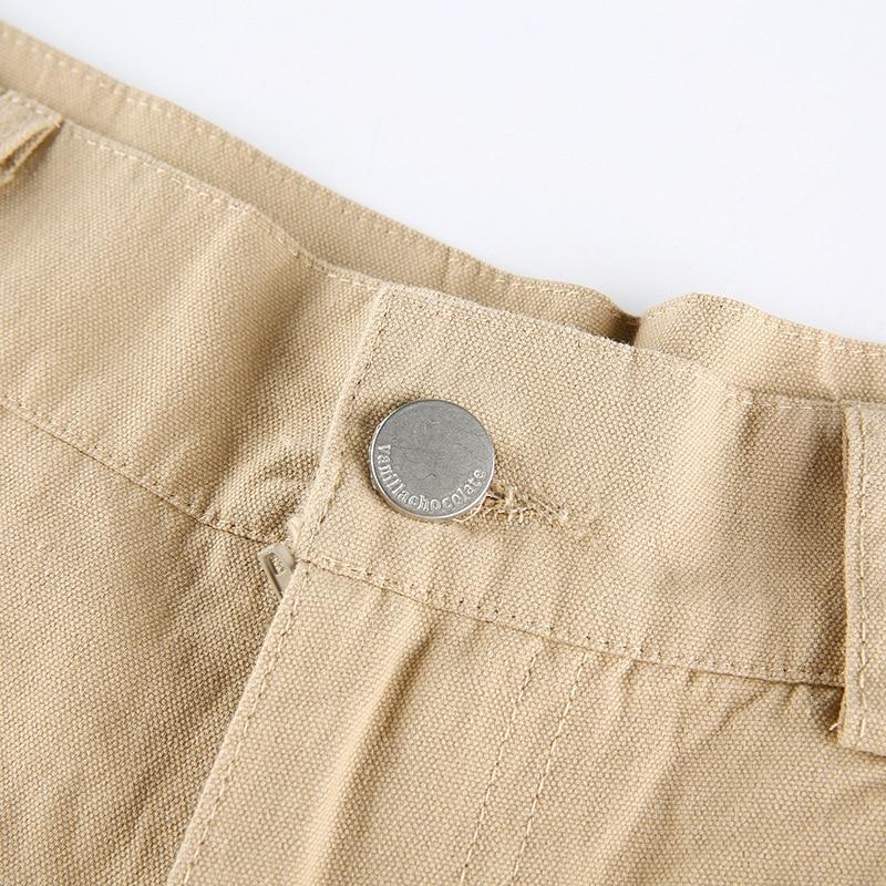 ALLNeon Y2K Fashion Khaki Oversized Cargo Pants Hip Hop Style Loosed Adjustable Waist Drawstring Long Pant Streetwear 90s Autumn
