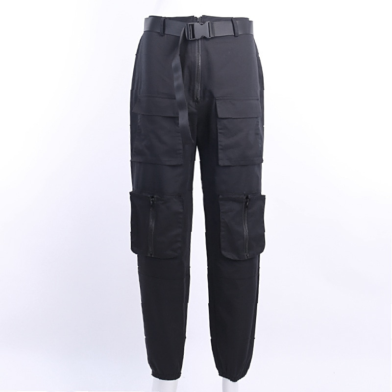 Goth Dark Pleated Grunge Gothic Pants For Women Harajuku Punk Patchwork Zipper Pockets Autumn 2021 Fashion Female Trousers