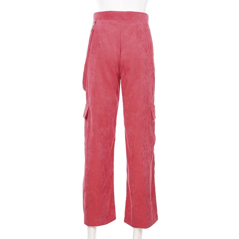 Weekeep Women Casual Pockets Patchwork Cargo Pants 2020 High Waist Straight Trousers Women Pants