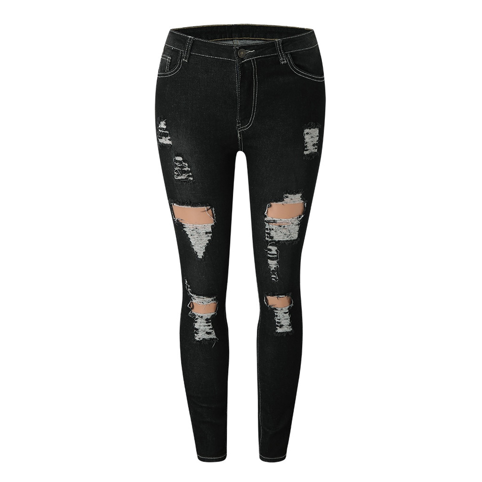 Black Ripped Jeans For Women Street Style Sexy High Waist Distressed Trouser Stretch Skinny Hole Denim Pencil Pants 2021 #4