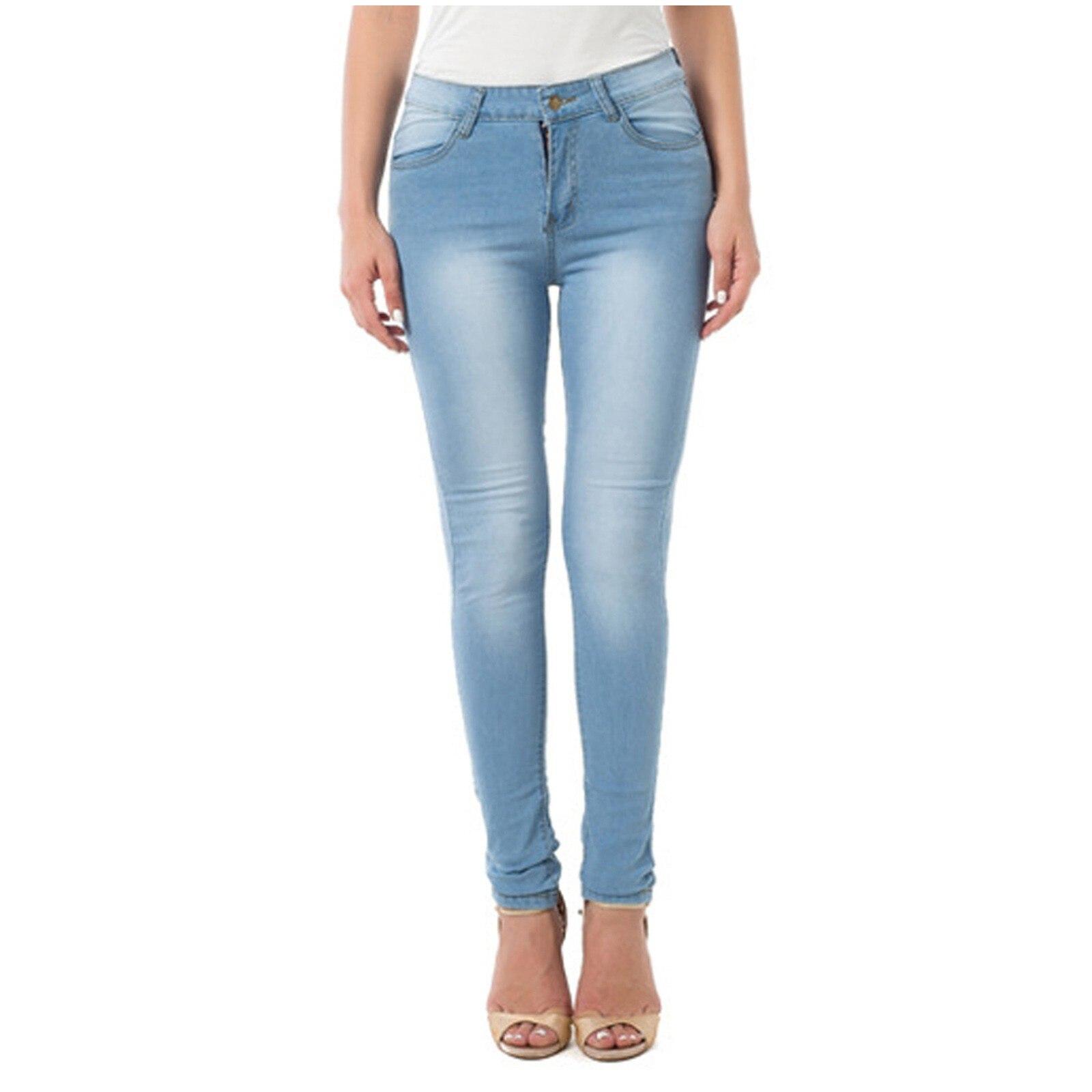 Jeans Woman High Waist New 2021 Fashion Simple Casual Plus Size Solid Color Gradient Long Jeans Denim Slim Regular Pencil Pants