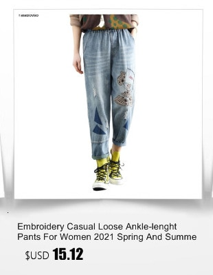 Washed Hole Loose All-match Calf-lenght Pants With Drawstring Retro Flower Embroidery Elastic Waist Jeans Mujer Women Female
