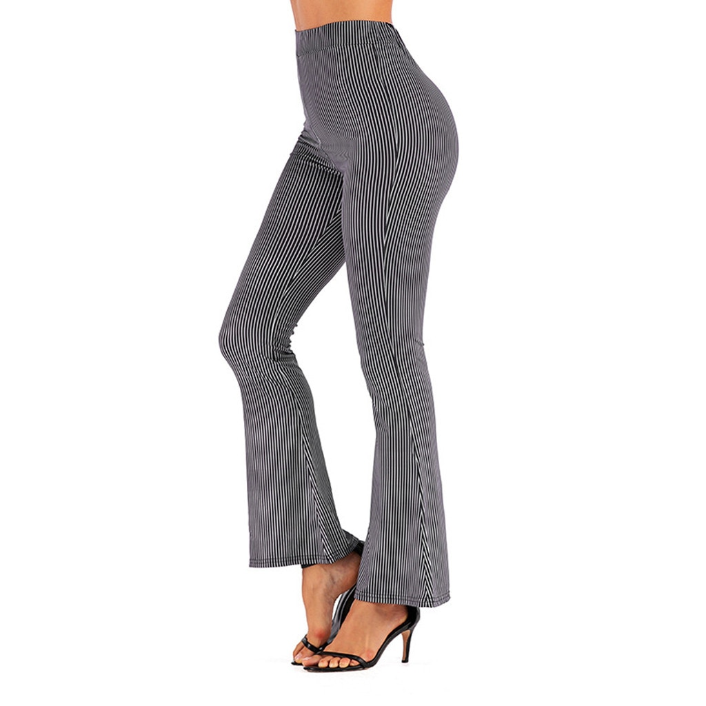 New Boho Summer Women's Plaid Stretch Bell Bottom Trousers Ladies Slim Printed Flared Pants High Waist Fashion Women Long Pants