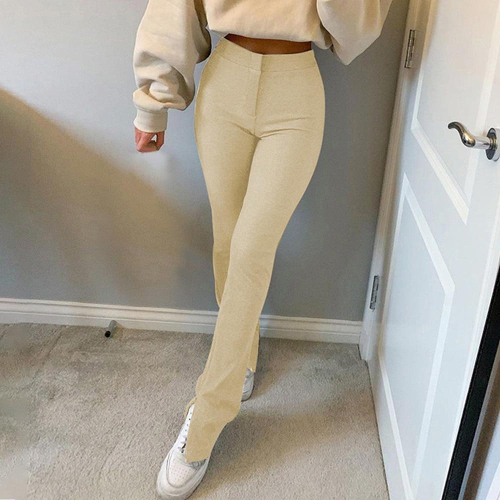 Jodimitty 2021 Streetwear Solid Sweatpants Tracksuit Women's Sports Pants High Waist Side Split Skinny Long Trousers Y2k Capris