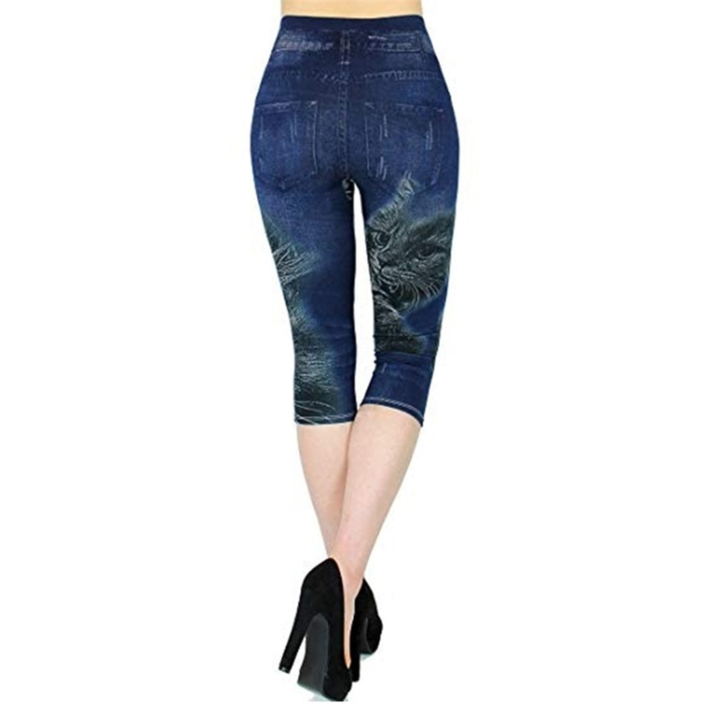 2021 New Solid Colour Pockets High-Waisted Elastic Slim Skinny Jeans Women's Fashional Vintage Casual Pencil Seven-cent Trousers