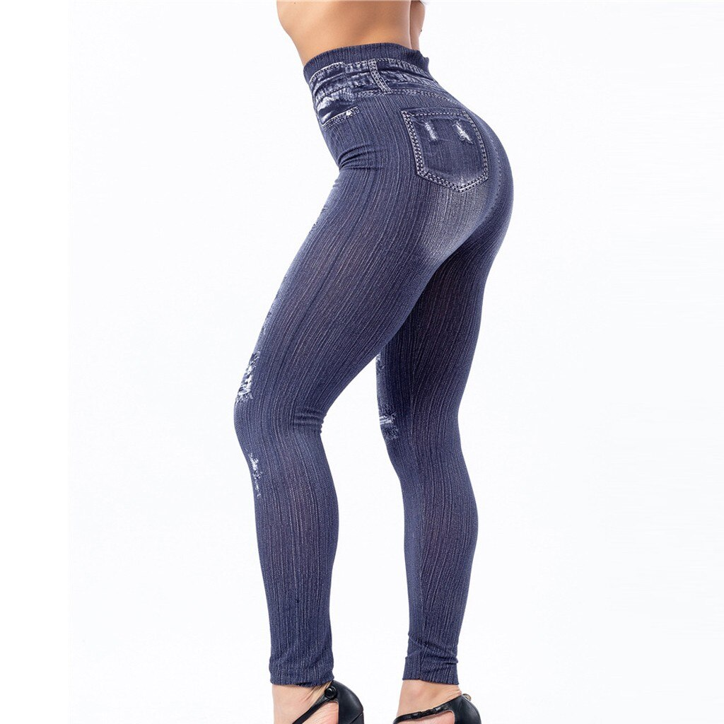 2021 New Solid Colour Excoriation Pocket Elastic Waist Bnaded High-waisted Skinny Jeans Women's Fashional Casual Pencil Leggings