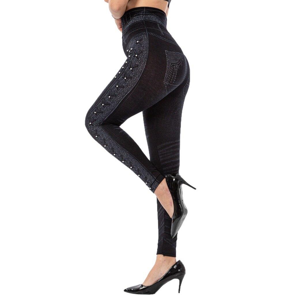 Women's Solid Casual Imitation Cowboy Leggings Bead High Elasticity Slim Cropped Pants спортивный костюм woman pants gym clothes