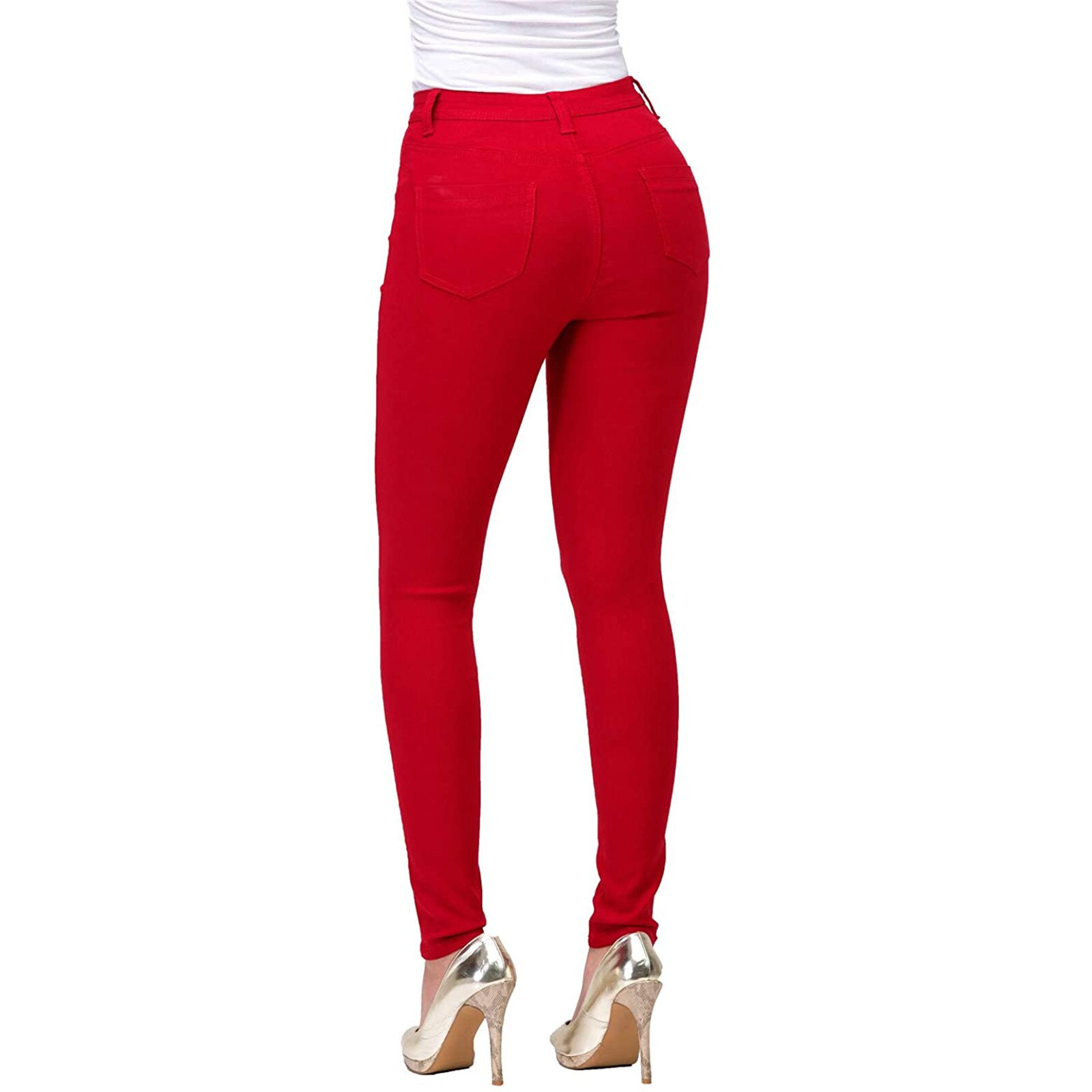 Women's High-Waisted Pants Small Feet Pants Fashion Solid Color Slim Fit Trousers Ladies Casual Pants Pantalones De Mujer
