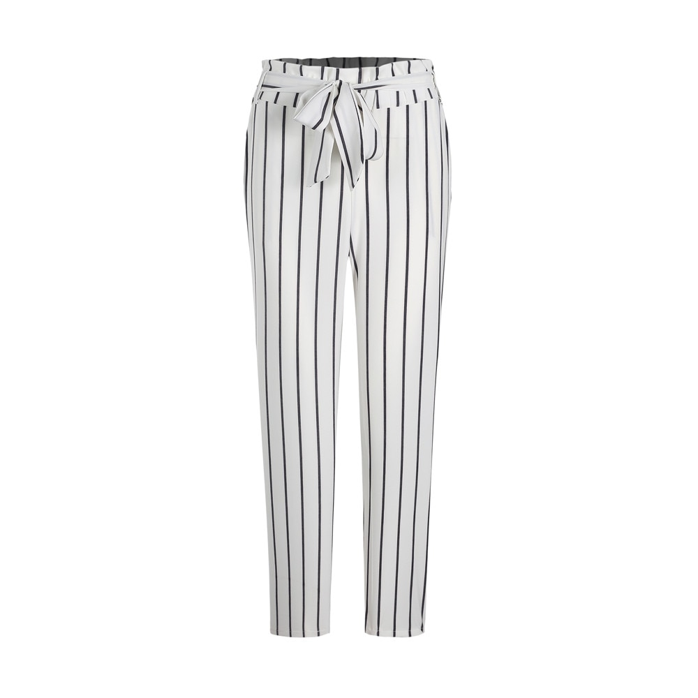 Summer Fashion Women's Pants Harajuku Bowknot High waist Stripe Trouser Casual Ladies Plus Size Small Feet Pencil Cropped Pant