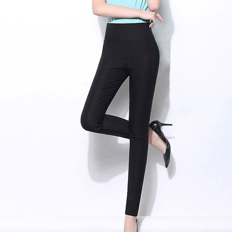 High Waist Women's Leggings White Black Stretch Trousers For Women Spring Autumn Breathable Solid Skinny Pants Female Plus Size