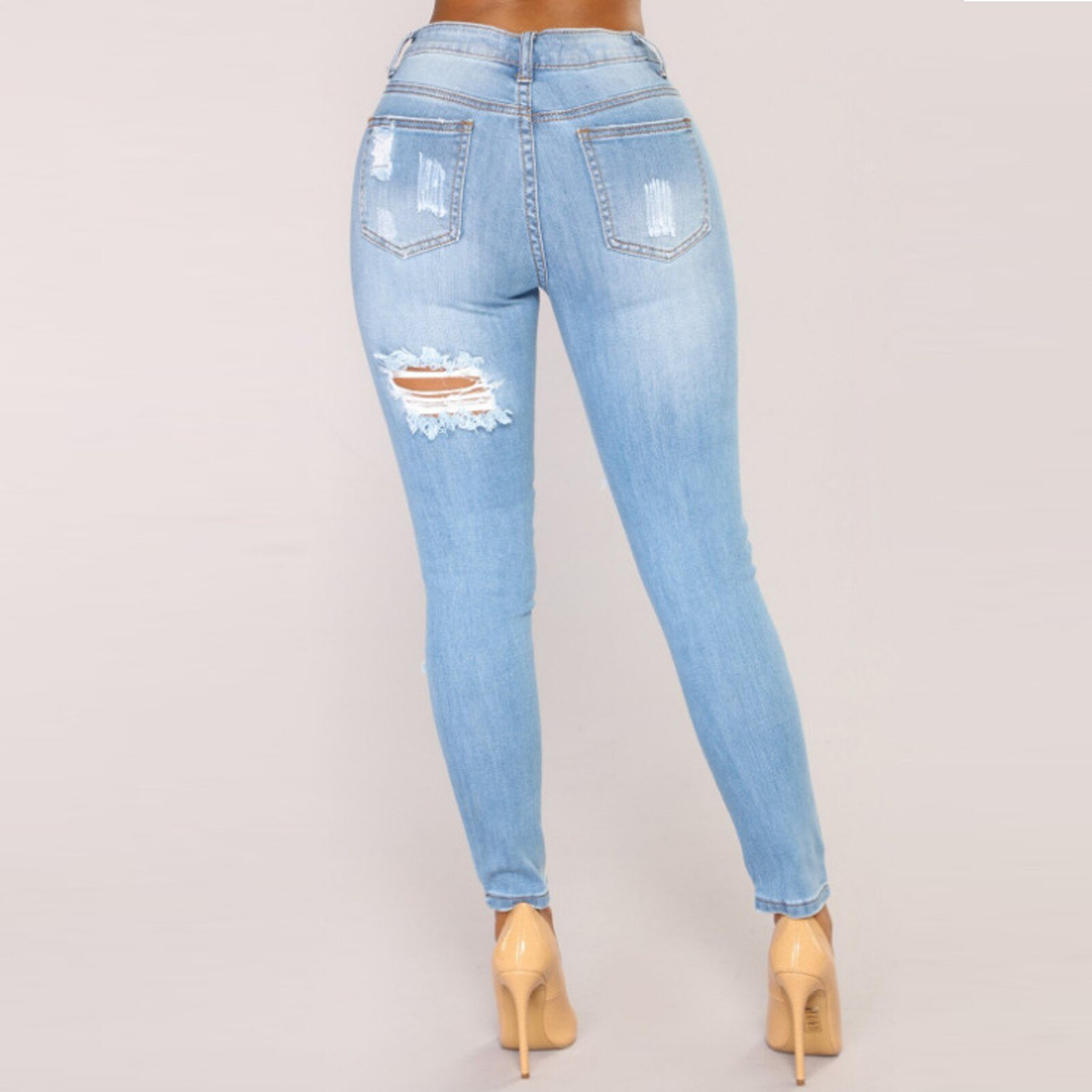 Female High Waist Ripped Jeans For Women's Fashion Sexy High Waist Torns Solid Skinny Jeans Long Pants 2021 Stright Trousers