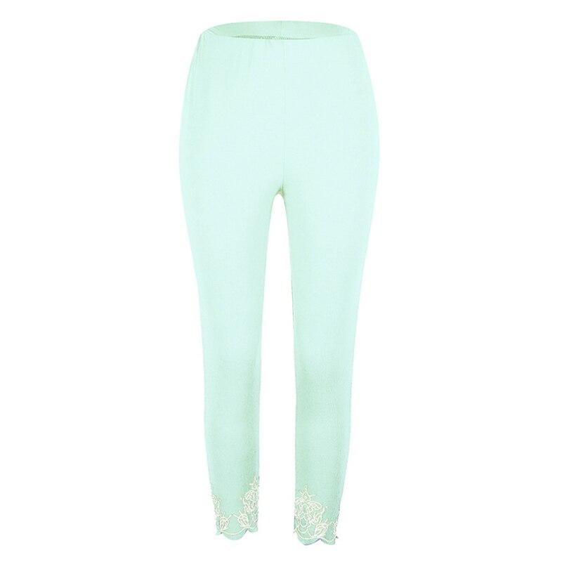 XUANSHOW 2018 Autumn Skinny Leggings Candy Color Print Hole Mid Waist Women's Pencil Pants Casual Ladies Clothes Plus Size S-5XL