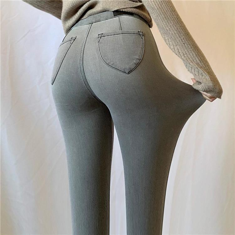 Autumn New European Jeans Woman Super Stretch High-waist Jean Peach Hip Jeans Women's Skinny Tight Hips Basic Pencil Feet Pants