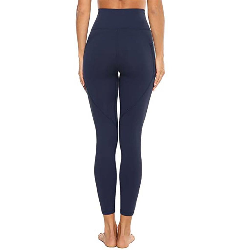 Women's leggings Quick Dry Solid Pocket Yoga Pants Leggings sport Fitness high waist Sports Running Elastic Sweatpants for women
