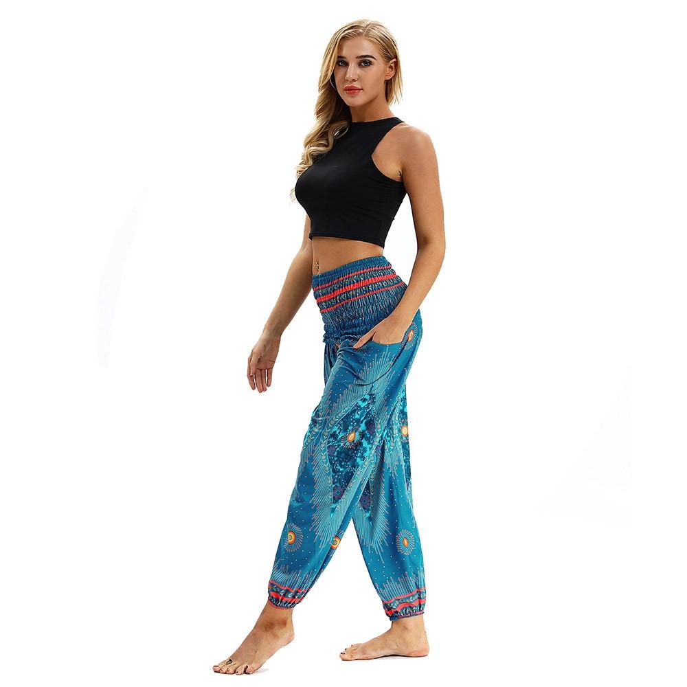 Yoga Pants Women's Sports Pants Pocket Print Leggings Fitness Sports Running High Waist Tight Trousers Workout Stretch Pants
