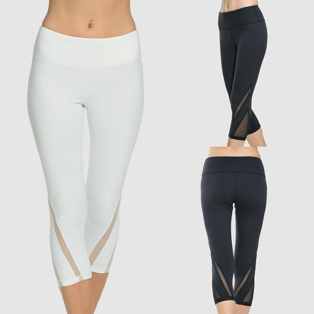 Sexy High Waist Sport Leggings Women's Net Yarn Fitness Hip-lifting Waist-stretching Running Pants Squat Proof Pants