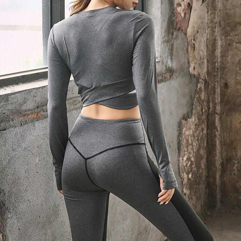 Women's Sports Wear Fitness Women Long Sleeve Gym Woman Tight Sport Shirt Yoga Top Female Workout Tops T-shirt
