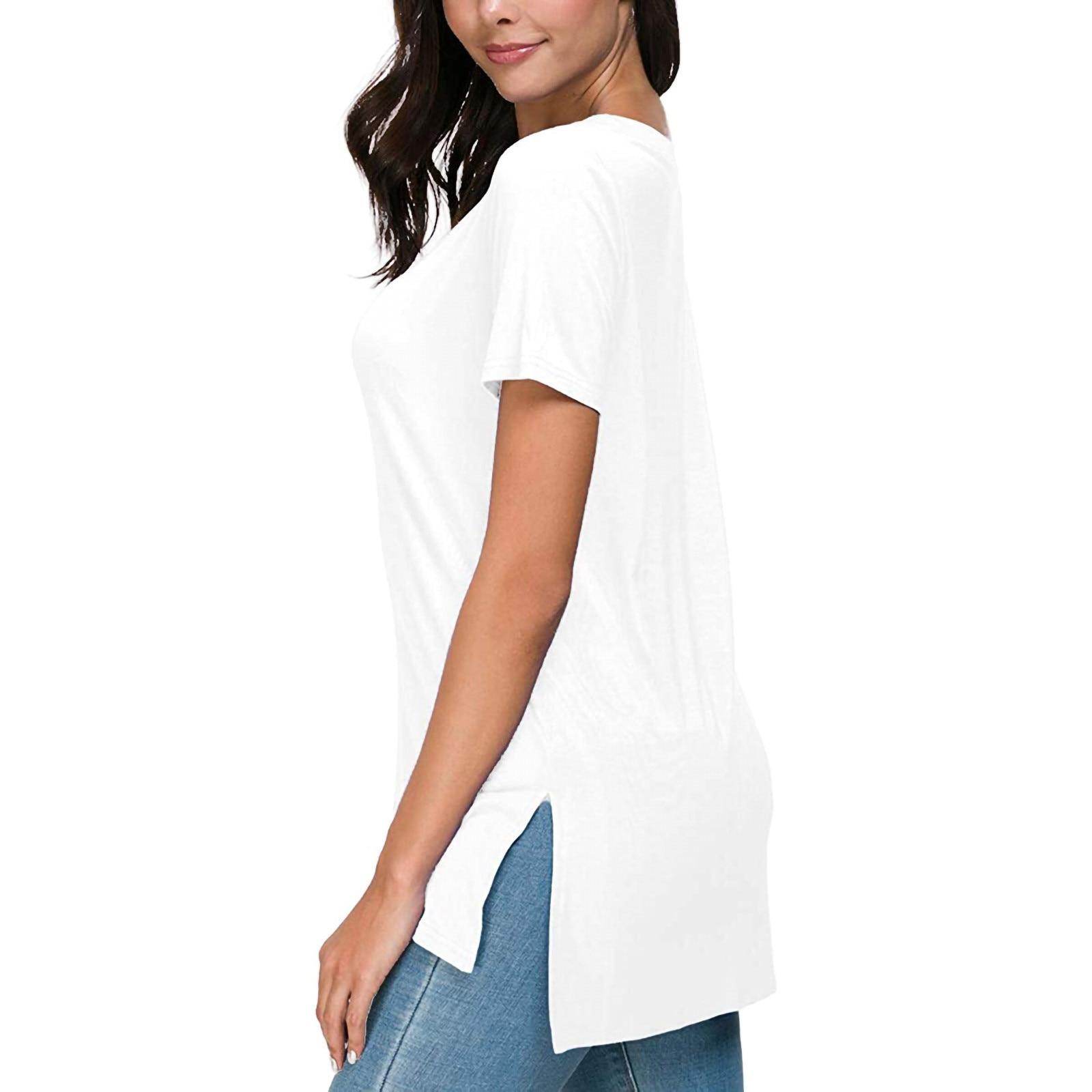 Women's Solid Summer Deep V Neck T-shirts Side Split Short Sleeve Tops Minimalist Style New Summer Women T-shirt Camisetas
