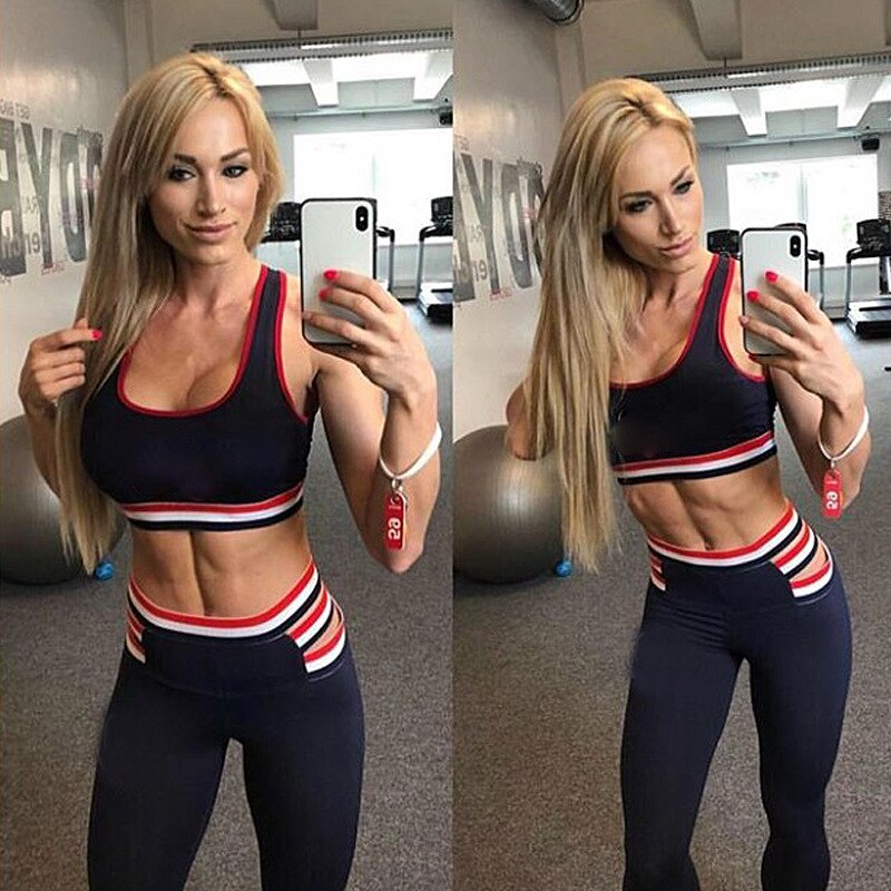 CXUEY Slim Fitness Suit Women 2020 Dry Fit Sportswear Woman Gym Clothing Dry Fit Running Workout Sport Kit Push Up Yoga Set Blue