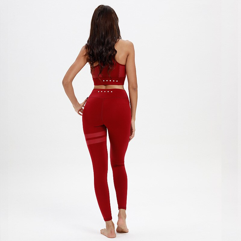 2 Pieces Ladies Sports Seamless Yoga Set Suits Costume For Women Sport Gym Fitness Workout Yoga Set Kit Leggings Top Sportwear