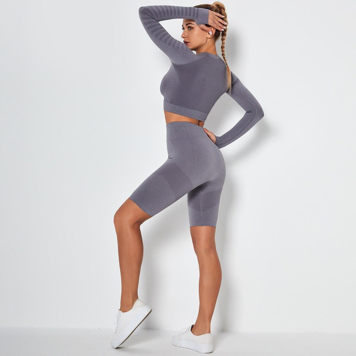 Leggings Clothing fitness Yoga kit pants biker shorts 2 piece set Bodysuit suits for yoga gym Tracksuit women shorts female run