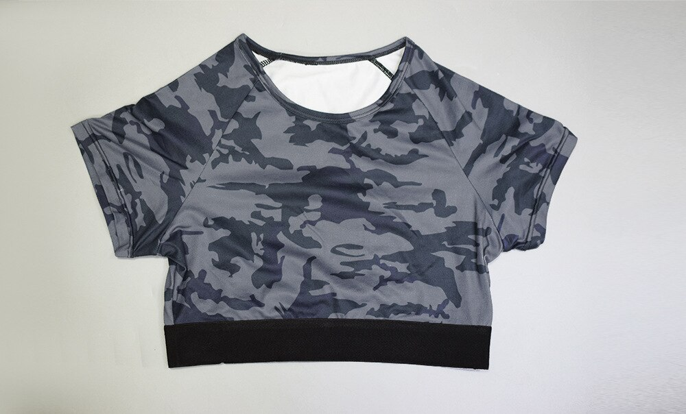 CXUEY New Fitness Suit Push Up Gym Sportswear Woman Camo Yoga Workout Set Women 2020 Jogging Femme Sport Kit T-shirt Yoga Set