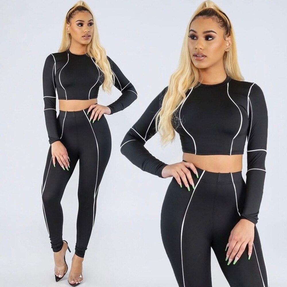 CXUEY Long Sleeve Fitness Suit 2020 Yoga Set Leggings Dry Fit Workout Sport Kit Slim Workout Clothes for Women Stripe Gym Set