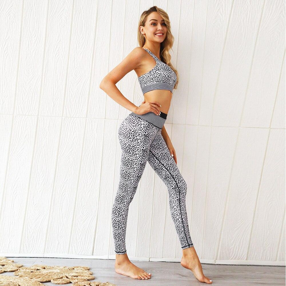 CXUEY Leopard Sportswear Woman Gym Clothing Push Up Fitness Suit Women 2020 New Jogging Femme Workout Sport Kit Tracksuit Print