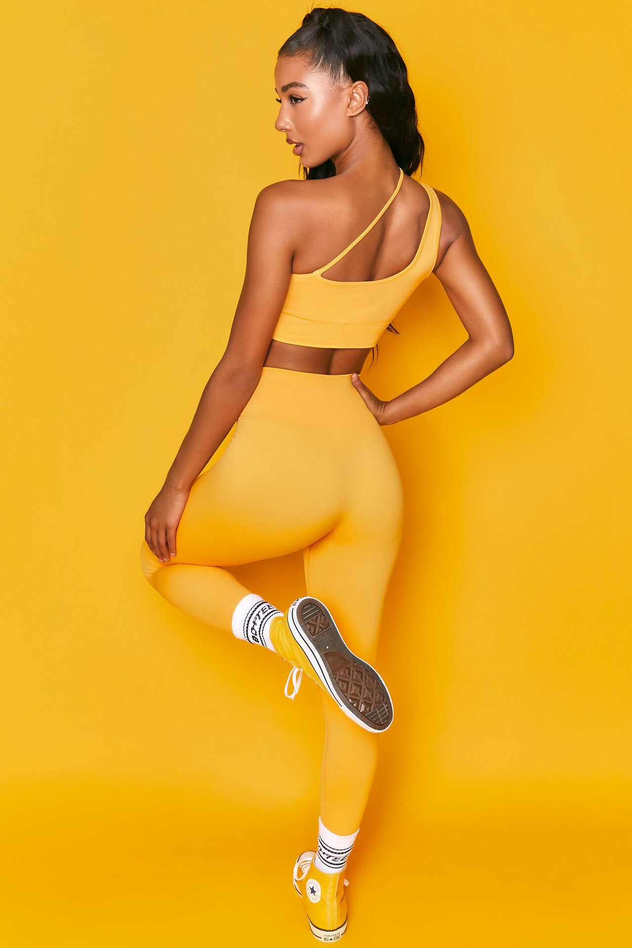 CXUEY Sling Yoga Fitness Wear Women Sportswear Gym Clothing Solid Workout Clothes for Women Sports Kit Jogging Tracksuit Yellow