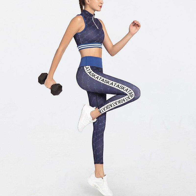 CXUEY Professional Yoga Workout Set 2020 Print Sports Woman Set Gym Clothing Fitness Suit Women Sportswear Sport Kit Blue White