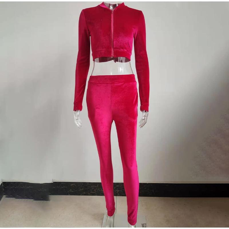 Diamond Rhinestones Letter Women's Set 2 Piece Tracksuit Velvet Crop Jacket Tracksuit Joggers Female 2021 Spring Casual Sports