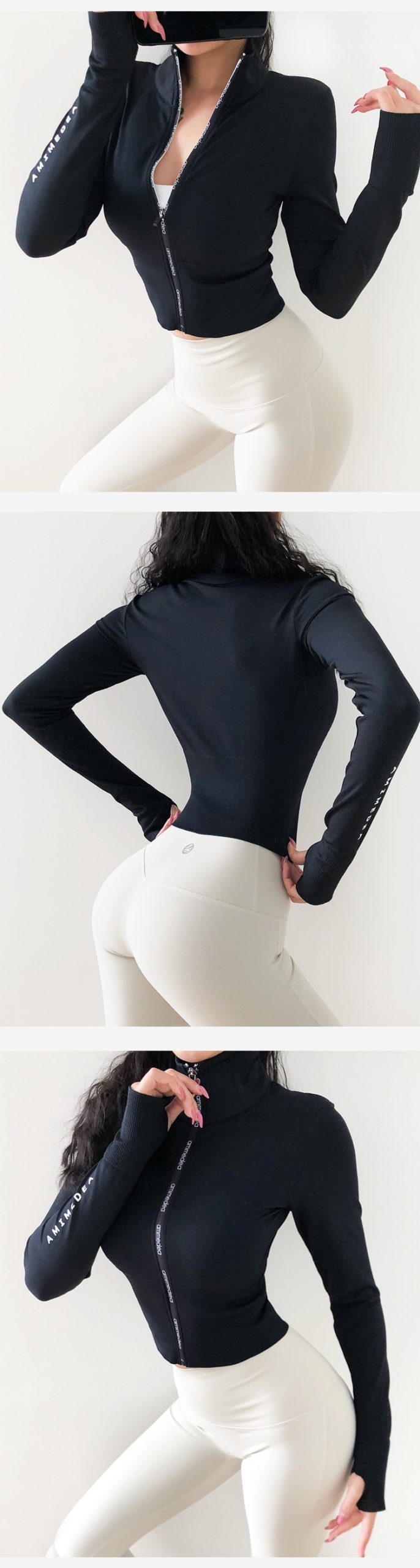 Women's  Long Sleeves Crop top  Sports Jersey Slim Fit shirt Fitness Yoga Top Winter Workout Jacket Female Gym Shirts