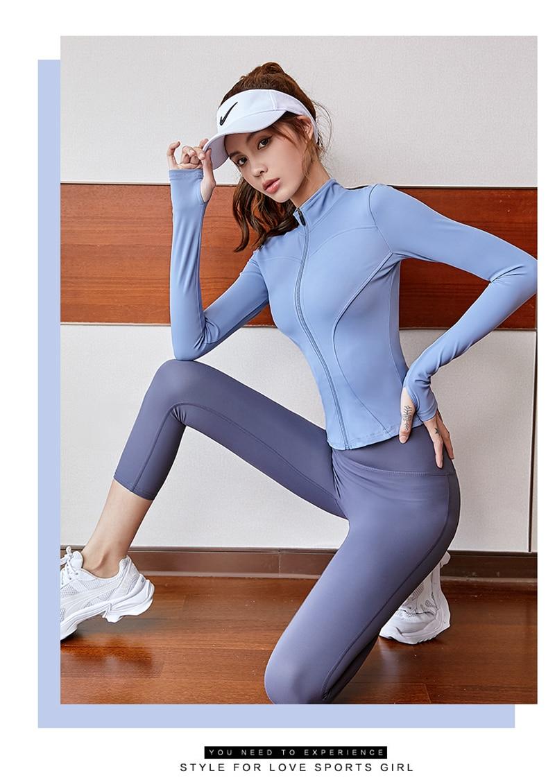 F.DYRAA Women's Thin Jacket Tight Yoga Clothes Long Sleeve Running With Zipper Coat Winter Sport Top Female Sports Hoodies
