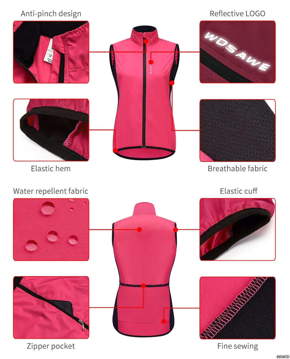 WOSAWE Women's Windproof Cycling Jacket Hooded Riding Bicycle Clothing Windbreaker Reflective Sports Outdoor Running Bike Vest