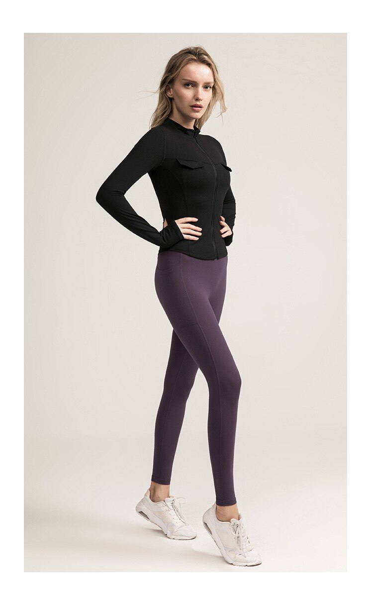 Women's Autumn And Winter Tight-fitting Yoga Wear Stand-up Collar Long-sleeved Jacket Zipper Quick-drying Running Sports   DS155