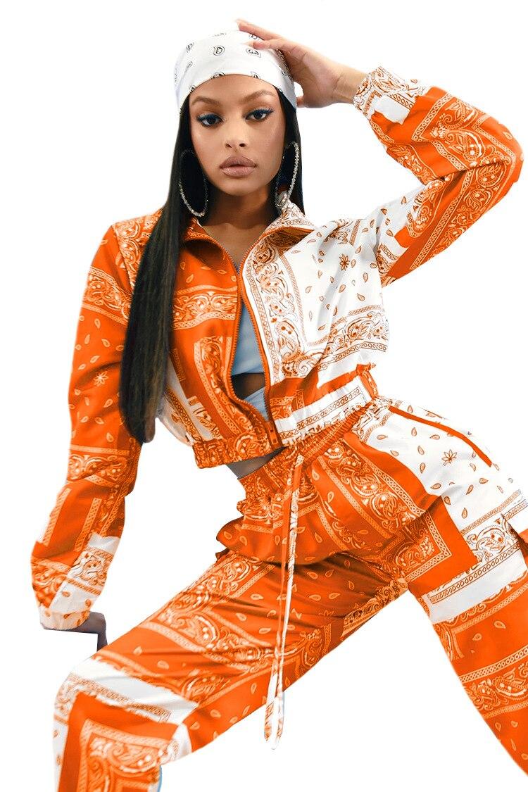 Paisley Bandana Print Two 2 Piece Set Women Fitness Sweatsuit Zipper Up Sweatshirt + Jogger Pants Set Tracksuit Vintage Outfits