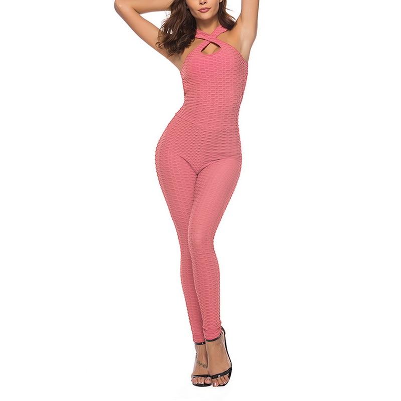 Sexy Women's Tracksuit Yoga Pants High Waist Gym Play suit Push up Slim Sport  leggings Top Running Sportswear Soft Jumpsuit2021