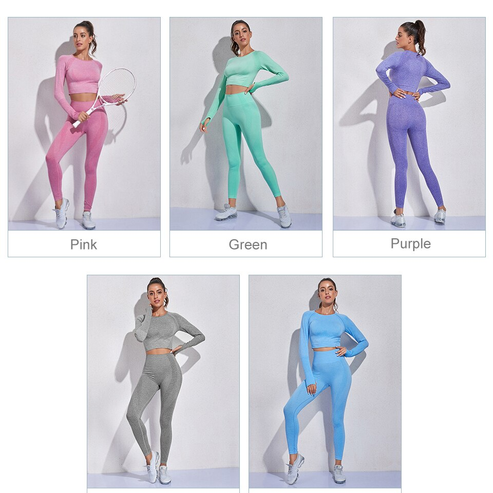 2 Peice Women Tracksuit Workout Set Gym Clothing Sports Bra Summer Clothes pants Yoga Set Seamless Fitness Leggings Suit Outfits